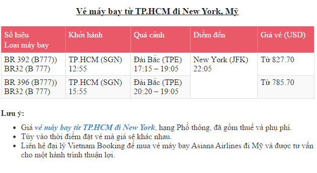 Ve may bay tu TPHCM di New York