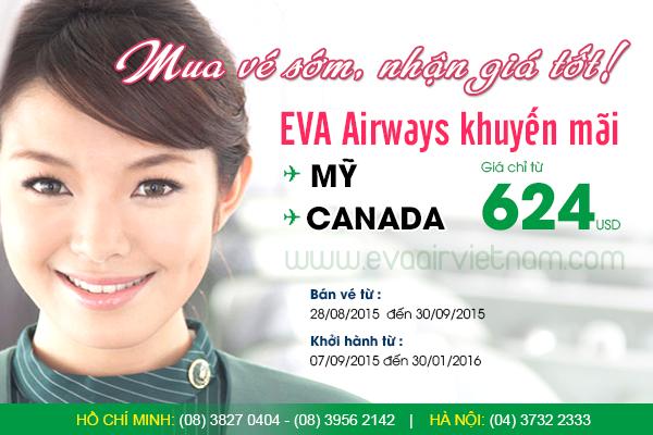 Vé máy bay EVA Air giá rẻ đi Mỹ và Canada