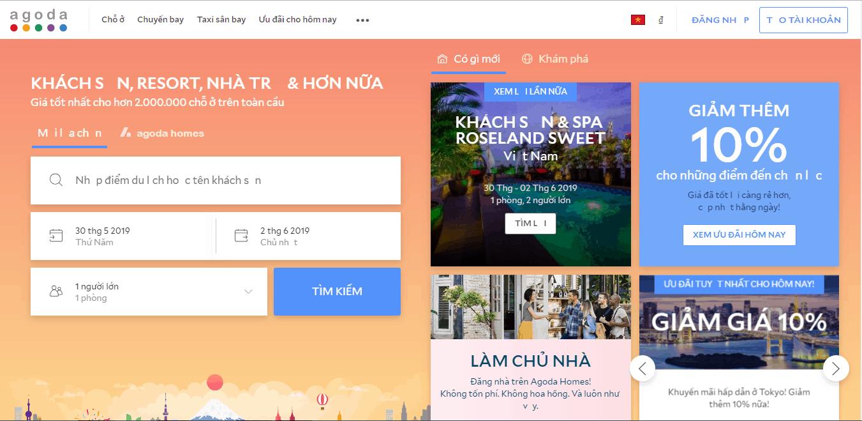 Trang web đặt phòng khách sạn agoda